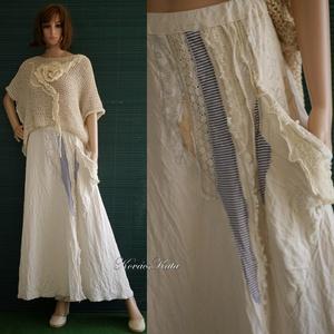 TAMARA - bohém patchwork-szoknya , Táska, Divat & Szépség, Ruha, divat, Női ruha, Szoknya, Varrás, Foltberakás, Új nyári modellem a bohém divat kedvelőinek:\nnyers-vászonból készült, A-vonalú, csipkékkel és textil..., Meska
