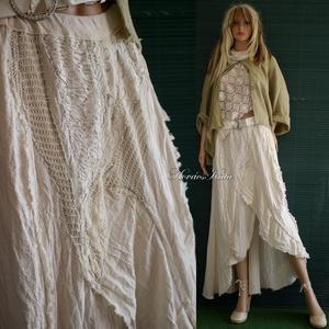 VIRNA - shabby chic patchwork-szoknya , Ruha & Divat, Női ruha, Szoknya, Varrás, Foltberakás, Új nyári modellem a bohém divat kedvelőinek:\nnyers-vászonból készült, A-vonalú, hátulra hosszabbodó ..., Meska