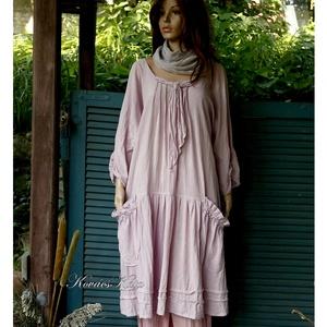 IBI -RUHA / pasztellek - artsy lagenlook flapper-ruha , Ruha, Női ruha, Ruha & Divat, Festett tárgyak, Varrás, Pasztell színekre kézzel festett , könnyű, nyers pamutvászonból készült flapper-ruha gömbölyded zseb..., Meska