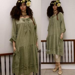IBI-RUHA / földszínek - artsy lagenlook flapper-ruha , Ruha, Női ruha, Ruha & Divat, Festett tárgyak, Varrás, Földszínekre kézzel festett , könnyű, nyers pamutvászonból készült flapper-ruhák gömbölyded zsebekke..., Meska
