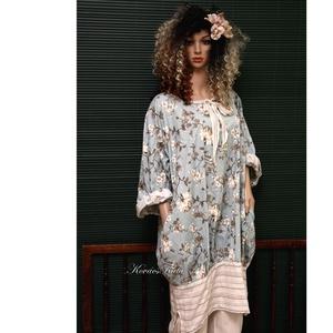 """KEHELYRUHA - \""""Rózsalonc\"""" tunikaruha - kismama ruha, Ruha & Divat, Női ruha, Ruha, Varrás, Új-vonalú modellemet különlegesen szép mintájú pamutvászonból készítettem.\nBőségét alul széles, csík..., Meska"""
