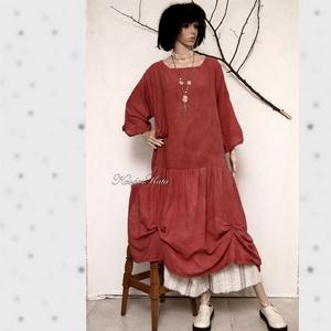 RACHEL - színezett lagenlook flapper ruha, Ruha, Női ruha, Ruha & Divat, Varrás, Festett tárgyak, Ezt a modellt az 1920\'as évek flapper-ruhái ihlették. \nNyers, puha pamutvászonból szabom, és kézzel ..., Meska
