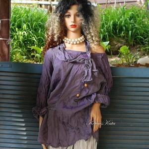 LILÁBAN: TANITA selyemtunika , Táska, Divat & Szépség, Női ruha, Ruha, divat, Ruha, Kismamaruha, Varrás, Antik-lila  vékony acetátselyemből készítettem és mosással gyűrtem ezt a nagyvonalú modellemet.\nA cs..., Meska