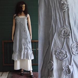 ARTSY SLIP / GALAMB - design kötényruha, Ruha & Divat, Ruha, Női ruha, Puha, bolyhozott felületű, galamb-szürkére kézzel festett pamutvászonból készült látványos és kényel..., Meska