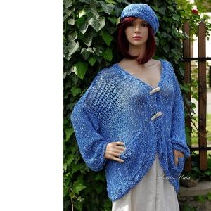 EDINA/kék- nyári kardigán - kézzel kötött, Táska, Divat & Szépség, Női ruha, Ruha, divat, Kabát, Poncsó, Mindenmás, Kötés, Hűvös nyári napokra ajánlom ezt a kényelmes, szép esésű trendi darabomat:\nkülönleges noppos-pamutos ..., Meska