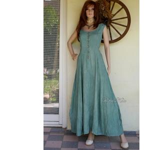 STEFÁNIA - romantikus design-ruha, Ruha, Női ruha, Ruha & Divat, Festett tárgyak, Varrás, Karcsúsított \'amfóra\'-szabású, könnyű pamutvászonból készült, kézzel festett, gombolós hosszú-ruha.\n..., Meska
