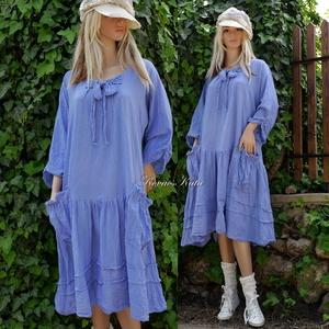 IBI -RUHA / encián - artsy lagenlook flapper-ruha , Táska, Divat & Szépség, Ruha, divat, Női ruha, Ruha, Encián-kékre kézzel festett, könnyű, nyers pamutvászonból készült flapper-ruha elöl-hátul összehúzó-..., Meska