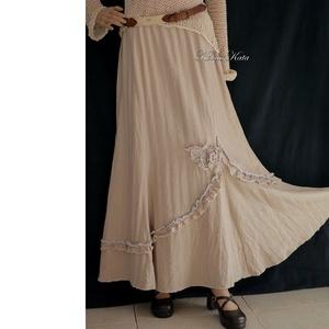 HELGA-SZOKNYA - romantikus design hosszú-szoknya, Szoknya, Női ruha, Ruha & Divat, Varrás, Ez a romantikus harangszoknya ruhatárad jól kihasználható csinos darabja lehet! \n\nAnyaga puha, közép..., Meska