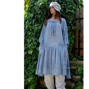 IBI -RUHA / felhős égkék - artsy lagenlook flapper-ruha , Ruha, Női ruha, Ruha & Divat, Festett tárgyak, Varrás, Kézzel festett, könnyű, nyers pamutvászonból készült flapper-ruha elöl-hátul összehúzó-pántokkal,  g..., Meska