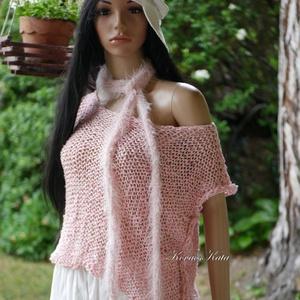 ARTSY-PULCSI - trendi kézzel kötött pamut-pulóver / rózsaszín, Táska, Divat & Szépség, Ruha, divat, Női ruha, Póló, felsőrész, Kötés, Puha pamutfonalból készült, kézzel kötött lezser pulóver. A fonal egyetlen sodrása különleges textúr..., Meska