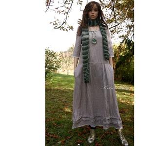 VICA -  lagenlook lenvászon ruha , Ruha, Női ruha, Ruha & Divat, Varrás, Különleges textúrájú, két színből szőtt lenvászonból készítettem ezt az extra hosszúságú  ruhámat.\n\n..., Meska