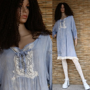 """BLUE ANGEL  - baby-doll design ruha, Ruha & Divat, Női ruha, Ruha, Festett tárgyak, Varrás, Romantikus \""""angyal-tunikám\"""" ruha-hosszúságú, könnyű pamutvászonból készült változata.\nBősége hátul k..., Meska"""
