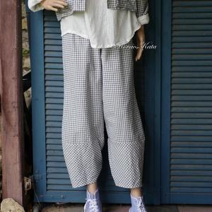TULIPÁN-NACI- lagenlook design nadrág , Ruha & Divat, Nadrág, Női ruha, Középvastag, kék-nyers színű apró-kockás szövetből terveztem ezt a szezon-független modellemet.  Kén..., Meska