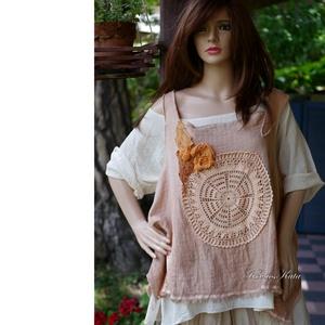 VENEZIA - ARTSY TOP - lagenlook design-ruha, mellény, Női ruha, Ruha & Divat, Tunika, Festett tárgyak, Varrás, A bohém megjelenés híveinek egy művészi, laza vonalú mellényke a réteges öltözködéshez: \nkockásan sz..., Meska