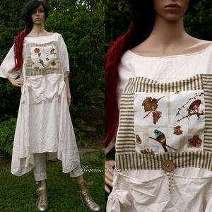 MANILA / madaras - lagenlook design-ruha, Ruha, Női ruha, Ruha & Divat, Varrás, Foltberakás, Rusztikus beszövésű, selymes fényű tört-fehér lenvászonból készült ez az A-vonalú extravagáns modell..., Meska