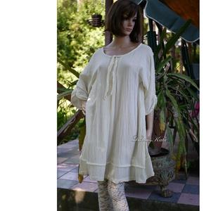 VERA - lagenlook ingruha / natúr, Ruha & Divat, Ruha, Női ruha, Ez a hajtott-elejű, nőies, laza tunikaruha nyári ruhatárad kedvence lehet, de egy lagenlook ruhatárb..., Meska