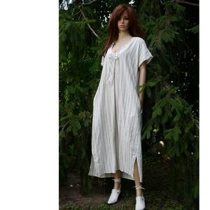 ELLA - lenvászon hosszú tunika-ruha,  - pasztell-csíkos ingruha, Ruha, Női ruha, Ruha & Divat, Varrás, Jó tartású, vastagabb, pasztell: világoskék-szürke-fehér csíkos lenvászonból készült japán-ujjú hoss..., Meska