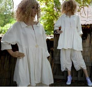 BORA - lagenlook lenvászon babydoll kabátka, Kabát, Női ruha, Ruha & Divat, Varrás, Hófehér, 100% lenvászonból terveztem ezt a romantikus baby-doll kabátkát.\nOldalába rejtett zsebekkel..., Meska