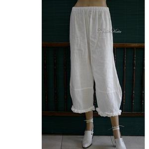 TULIPÁN - lagenlook lenvászon-nadrág , Ruha & Divat, Női ruha, Nadrág, Varrás, Középvastag jó tartású tört-fehér lenvászonból terveztem ezt a jól használható nyári modellemet. \nKé..., Meska