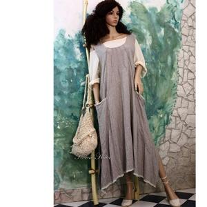 """MATILDA - lagenlook kötényruha , Ruha, Női ruha, Ruha & Divat, Varrás, Szuper kényelmes ez az egyszerűen elegáns A-vonalú modellem.\n100% \""""mákos\"""" lenvászonból terveztem óri..., Meska"""