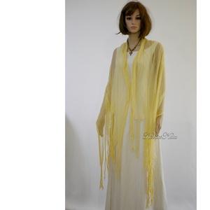 PIXY nimfa-stóla : batikolt, szabdalt géz stóla, sál / vanília-sárga - ruha & divat - sál, sapka, kendő - stóla - Meska.hu