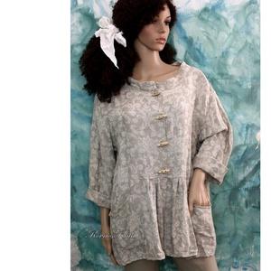 GLÓRIA - barokk-mintás jacquard-len kabátka, Táska, Divat & Szépség, Ruha, divat, Női ruha, Kabát, Varrás, Egy romantikus Nő ruhatárába:\nBarokk-mintás, 100% lenvászonból terveztem ezt a romantikus kabátkát.\n..., Meska