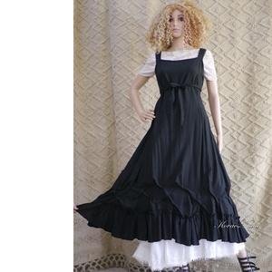 ARTSY SLIP / ÉBEN - lagenlook design lenvászon kötényruha, Ruha, Női ruha, Ruha & Divat, Varrás, Éj-fekete színű puha lenvászonból készült kényelmes kötényruha a réteges öltözködéshez:\nAlul fodorra..., Meska