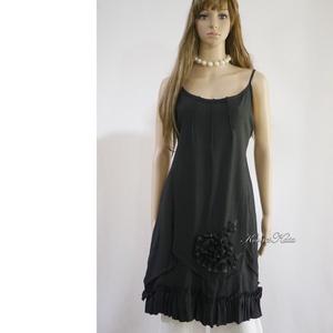ARTSY SLIP / HÉDI - lagenlook design kötényruha, Ruha, Női ruha, Ruha & Divat, Varrás, Ében-fekete puha lenvászonból készült kényelmes kötényruha a réteges öltözködéshez:\nKombiné-pánttal,..., Meska