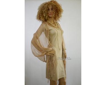 PIXY-SZETT / mogyoró - batikolt trikóruha szabdalt gézstólával , Ruha & Divat, Ruha, Női ruha, Ez a dekoratív szett egy bohém, szegetlen szélű (nem bomlik) mindkét oldalán hordható pamut trikóruh..., Meska