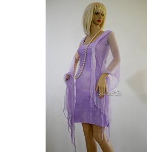 PIXY-SZETT / orgona - batikolt trikóruha szabdalt gézstólával , Ruha & Divat, Ruha, Női ruha, Ez a dekoratív szett egy bohém, szegetlen szélű (nem bomlik) mindkét oldalán hordható pamut trikóruh..., Meska
