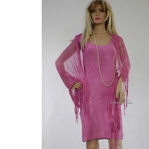 PIXY-SZETT / málna - batikolt trikóruha szabdalt gézstólával , Ruha & Divat, Ruha, Női ruha, Ez a dekoratív szett egy bohém, szegetlen szélű (nem bomlik) mindkét oldalán hordható pamut trikóruh..., Meska