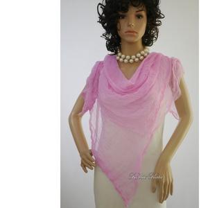MULL-KENDŐ / pink - batikolt géz sál - ruha & divat - sál, sapka, kendő - sál - Meska.hu