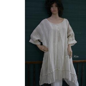 SZADA - hólos tunika-ruha, Ruha & Divat, Ruha, Női ruha, Könnyű, csíkosan szőtt len-gézből készült ez kényelmes modellem. Elöl-hátul bővítő hajtással, alján ..., Meska