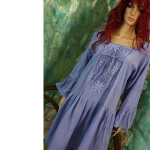 SZELLŐRÓZSA / encián - lagenlook tunikaruha  , Ruha, Női ruha, Ruha & Divat, Varrás, Festett tárgyak, Romantikus tunika-ruháim szellőrózsa-mintájú csipkével díszített, kézzel festett változata.\nKönnyű, ..., Meska