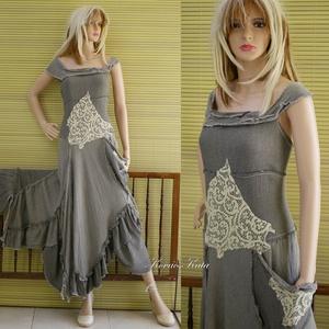 GINGER - shabby chic patchwork ruha, Ruha & Divat, Ruha, Női ruha, Különleges, selyemmel szőtt, szép esésű lenszövetből terveztem ezt a különleges patchwork ruhát, fes..., Meska