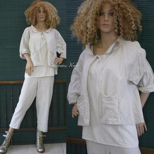 ZSÚR-KABÁTKA - lagenlook design lenvászon kabát, Táska, Divat & Szépség, Ruha, divat, Női ruha, Kabát, Blúz, Varrás, Hajszál-csíkos, puha, középvastag lenvászonból készült rövid kabátkám. \nTúl-méretes bőségével, prakt..., Meska