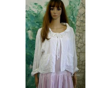 AZSÚROS KABÁTKA - lagenlook design , Táska, Divat & Szépség, Ruha, divat, Női ruha, Kabát, Blúz, Varrás, Nyári ruhák fölé terveztem ezt a gyönyörű, azsúros pamut-puplinból készült rövid kabátkám. \nTúl-mére..., Meska