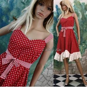 MICHELLE - design-ruha, pöttyös menyecske ruha, Alkalmi ruha & Estélyi ruha, Női ruha, Ruha & Divat, Varrás, Pöttyös pamutvászonból készítettem ezt a nőies modellemet.\nA vállpántja és csokorra köthető öv hozzá..., Meska