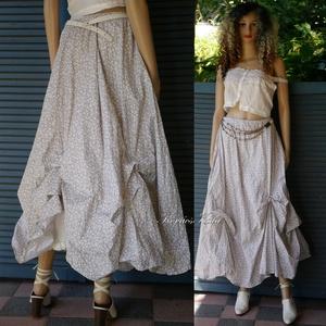 OPHELIA - lagenlook szoknya / bézs kisvirágos, Szoknya, Női ruha, Ruha & Divat, Varrás, Nyomott mintás pamutvászonból terveztem ezt a jól kihasználható, romantikus modellemet.\nKörgloknis s..., Meska