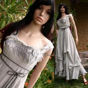 LAGUNA - artsy design - bohém menyasszonyi ruha / ezüstszürke, Ruha & Divat, Alkalmi ruha & Estélyi ruha, Női ruha, Varrás, Festett tárgyak, Meska