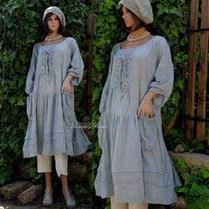 IBI-RUHA / palakék - artsy lagenlook flapper-ruha  (brokat) - Meska.hu