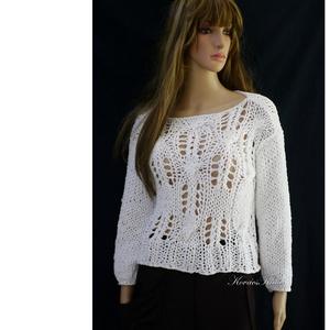 LOTTE - kézzel kötött romantikus pamut-pulóver / hófehér, Táska, Divat & Szépség, Ruha, divat, Női ruha, Póló, felsőrész, Kötés, Csodaszép csipke mintájú hófehér pamut-pulóver romantikus Nőknek.\n\nMérete: S-L\nEz a modell színekben..., Meska