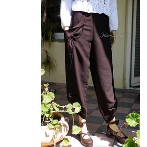PADLIZSÁN lagenlook design nadrág, Ruha & Divat, Nadrág, Női ruha, Padlizsán-lila rusztikus felületű szövetből készült ez az érdekes szabású,kényelmes nadrág. Extravag..., Meska