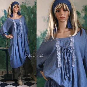 JOHANNA - romantikus flapper-ruha, Ruha, Női ruha, Ruha & Divat, Festett tárgyak, Varrás, Rusztikus, könnyű, nyers pamut-vászonból terveztem ezt a lagenlook ingruhámat.\nFormáját a \'20-as éve..., Meska
