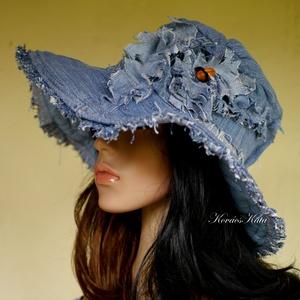 BELINDA - romantikus design kalap - bohém farmer-kalap  , Ruha & Divat, Kalap, Sál, Sapka, Kendő, Újrahasznosított alapanyagból készült termékek, Varrás, Meska