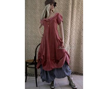 HANGA - shabby chic design-ruha , Ruha, Női ruha, Ruha & Divat, Varrás, Festett tárgyak, Puha, kézzel festett nyers flanelból készült modellem a réteges öltözetek kedvelőinek ajánlom.\nJelle..., Meska