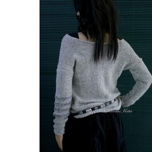ALPAKA PULCSI - kézzel kötött extravagáns artsy-design pulóver BARKA/szürke (brokat) - Meska.hu