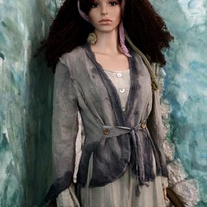 LINEN-FLAX JACKET- artsy design kabátka, Táska, Divat & Szépség, Női ruha, Ruha, divat, Kabát, Varrás, Festett tárgyak, Rusztikus, kívül-varrt, bohém-romantikus lenvászon kabátka kézzel festett szélekkel.\nRuhatárad látvá..., Meska