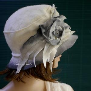 SIRÁLY - art deco filc kalap (brokat) - Meska.hu
