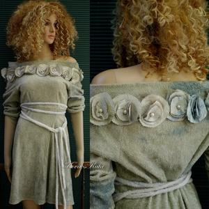 A R T S Y - R U H Á K ..............ZSENÍLIA - shabby chic design ruha, Ruha & Divat, Ruha, Női ruha, A bohém holmik kedvelőinek: Kézzel -piszkos-zöldes-szürkés- foltosra festett elasztikus, puha zseníl..., Meska
